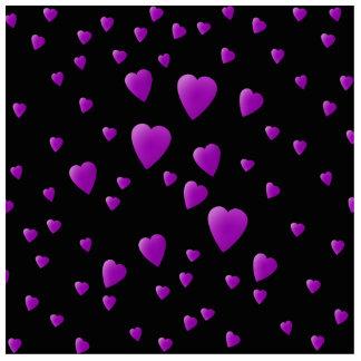 黒の愛ハートの紫色パターン 写真彫刻キーホルダー