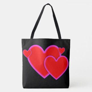 黒の愛ハートの赤い紫色のピンクのボーダー トートバッグ