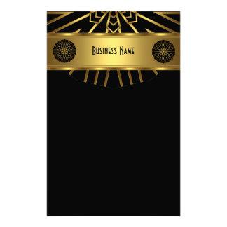 黒の文房具の金ゴールドの抽象芸術 便箋