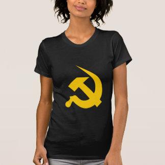 黒の新厚く明るく黄色いハンマー及び鎌 Tシャツ