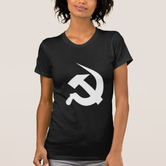 黒の新厚く白いハンマー及び鎌 Tシャツ