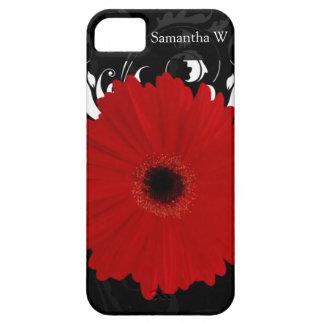 黒の明るく赤いガーベラのデイジー iPhone SE/5/5s ケース