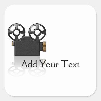 黒の映画用カメラおよび白の金ゴールド スクエアシール