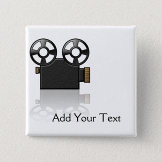 黒の映画用カメラおよび白の金ゴールド 5.1CM 正方形バッジ