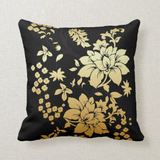 黒の東洋の金花 クッション