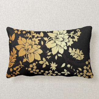 黒の東洋の金花 ランバークッション
