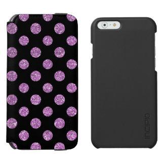 黒の模造のなラベンダーのグリッターの水玉模様パターン INCIPIO WATSON™ iPhone 6 ウォレットケース