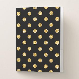 黒の模造のな金ゴールドのグリッターの水玉模様 ポケットフォルダー