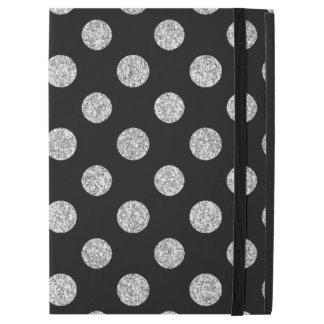 """黒の模造のな銀製のグリッターの水玉模様パターン iPad PRO 12.9"""" ケース"""