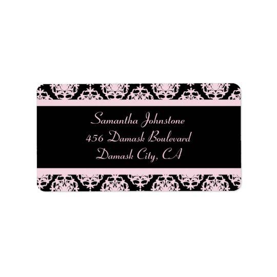 黒の淡いピンクのダマスク織 宛名ラベル