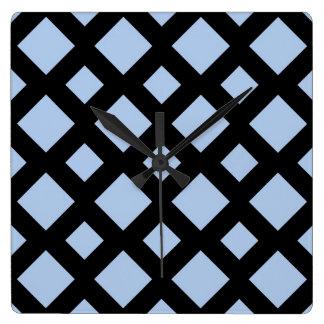 黒の淡いブルーのダイヤモンド スクエア壁時計
