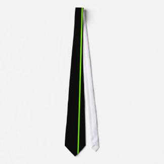 黒の淡黄緑の薄い垂直線 カスタムネクタイ