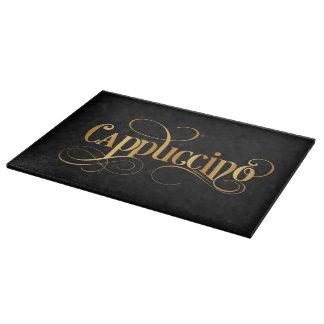 黒の渦巻形のな原稿の書道のカプチーノの金ゴールド カッティングボード