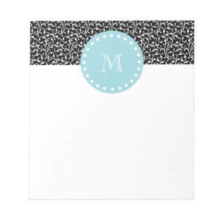 黒の渦巻、青く白いモノグラム ノートパッド