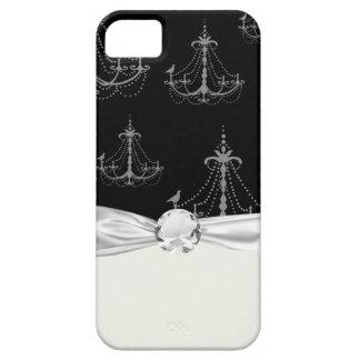 黒の灰色の銀製のシャンデリアのダマスク織 iPhone SE/5/5s ケース