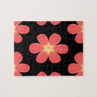 黒の珊瑚によって着色される熱帯花 ジグソーパズル