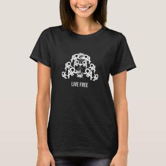 黒の生きている自由な及び独立独行の女性ARのTシャツ Tシャツ