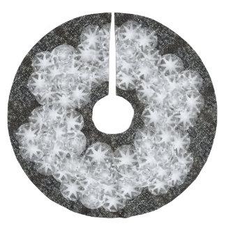 黒の白いダイヤモンドの粉末の輝きのグリッター ブラッシュドポリエステルツリースカート