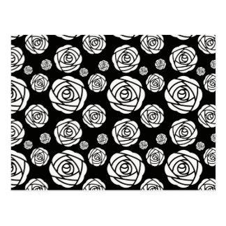 黒の白いバラ ポストカード