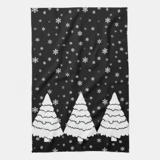 黒の白い木 キッチンタオル