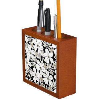 黒の白い熱帯花 ペンスタンド