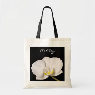 黒の白い蘭 トートバッグ