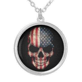 黒の米国旗のスカル シルバープレートネックレス