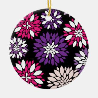 黒の紫色のピンクの白い花の芸術 セラミックオーナメント