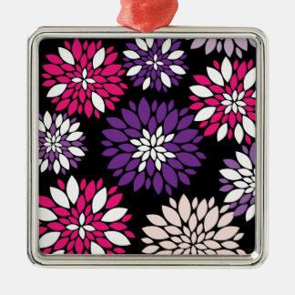 黒の紫色のピンクの白い花の芸術 メタルオーナメント