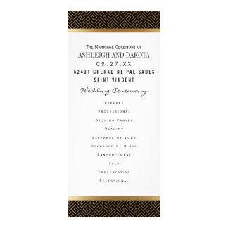 黒の結婚式プログラム|のフォーマルな金幾何学的 ラックカード