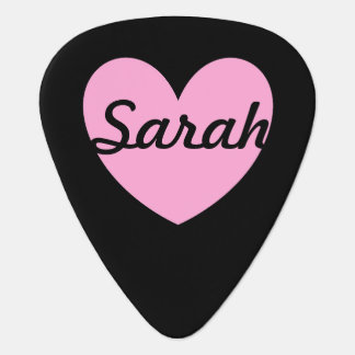 黒の綿菓子のピンクのポルカのハート ギターピック