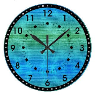 黒の緑および青の勾配 ラージ壁時計