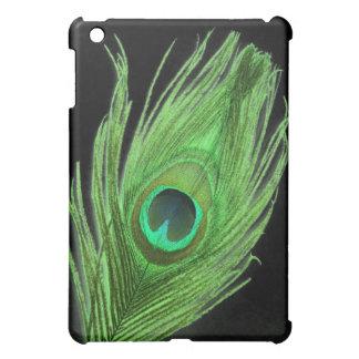 黒の緑の孔雀の羽 iPad MINIケース