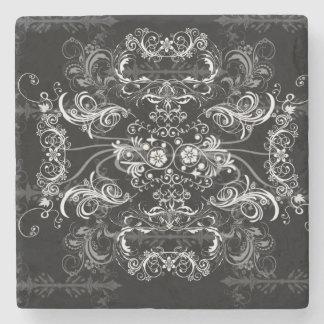 黒の美しく白いSwirlies ストーンコースター