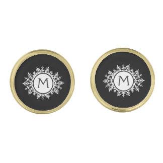 黒の華美で白い雪片のモノグラム ゴールド カフスボタン