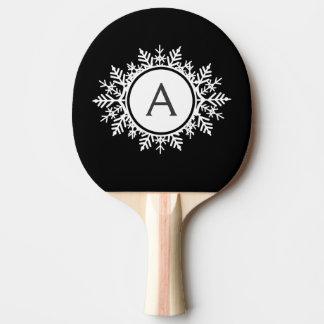 黒の華美で白い雪片のモノグラム 卓球ラケット