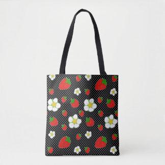 黒の赤いいちごの点 トートバッグ