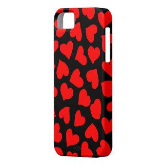 黒の赤いハートパターン iPhone SE/5/5s ケース