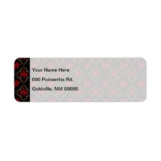 黒の赤いポインセチア ラベル