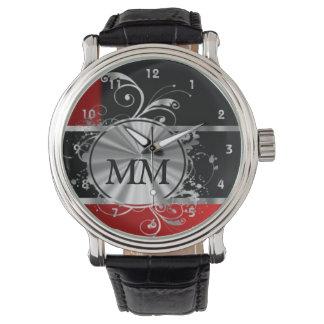 黒の赤く、銀製のモノグラム 腕時計