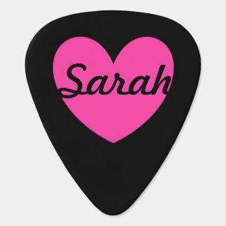 黒の赤紫のピンクのポルカのハート ギターピック