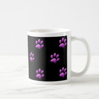黒の足のプリントのマグの紫色 コーヒーマグカップ
