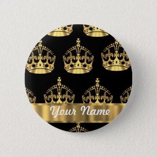 黒の金ゴールドの王冠パターン 缶バッジ