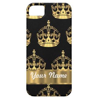 黒の金ゴールドの王冠パターン iPhone SE/5/5s ケース