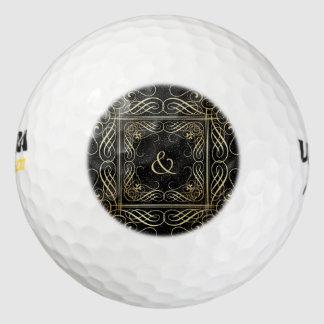 黒の金ゴールドホイルの一見のScrollworkのエレガントな原稿 ゴルフボール