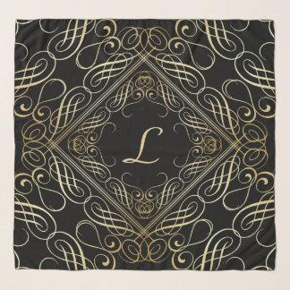 黒の金ゴールドホイルの一見のScrollworkのエレガントな原稿 スカーフ