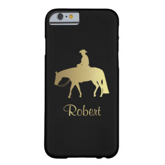 黒の金西部の喜びの馬 BARELY THERE iPhone 6 ケース