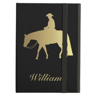 黒の金西部の喜びの馬 iPad AIRケース