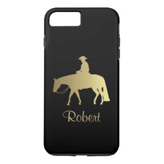 黒の金西部の喜びの馬 iPhone 8 PLUS/7 PLUSケース