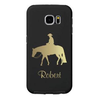 黒の金西部の喜びの馬 SAMSUNG GALAXY S6 ケース